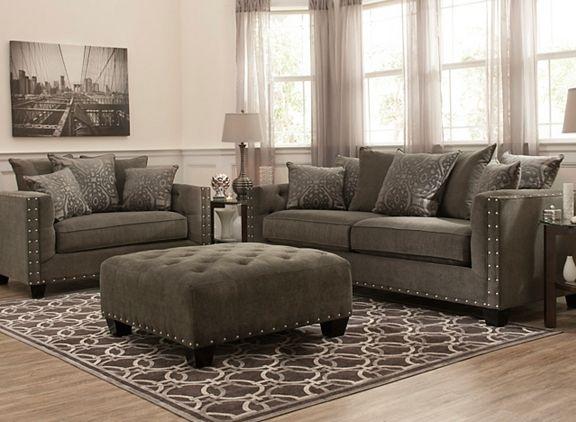 sofas with nailhead trim red leather sofa ideas cindy crawford calista microfiber   raymour ...