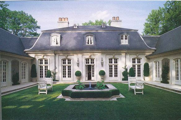 Formal French Country House Facade With Courtyard Ad