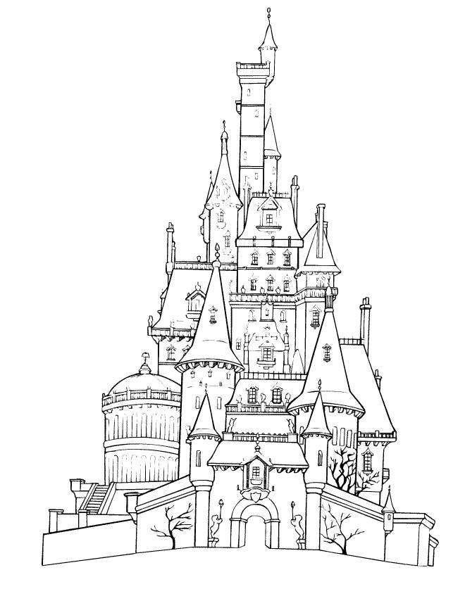 Coloring page for the kids' activity book-Belle's castle