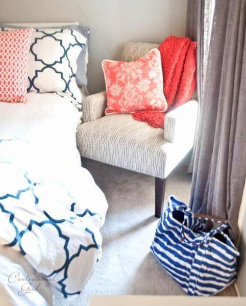Navy And Coral Bedroom Bedroom Makeover Pinterest Girls Tables And Love The