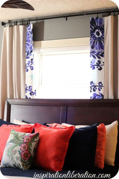 khaki bedroom curtains coral and navy master bedroom--like how the drapes are khaki except the edge has a print! Cool