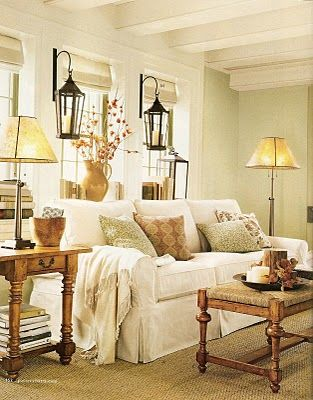 Beautiful  Inviting Living Room  Cottage Chican idea for between bay windows for window seat