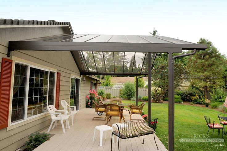 aluminum patio covers u cover kits ricksfencingcom need a gutter system like this deck and landscaping