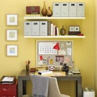 Shelves above desk with room for coarkboard   Desk Space ...