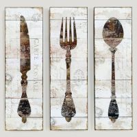 Natalie Wood Panel Wall Art, Knife, Fork, and Spoon. For ...