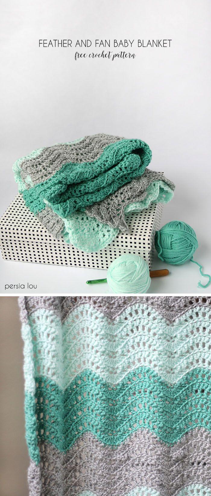crochet feather and fan baby blanket – free crochet pattern ༺✿ƬⱤღ✿༻