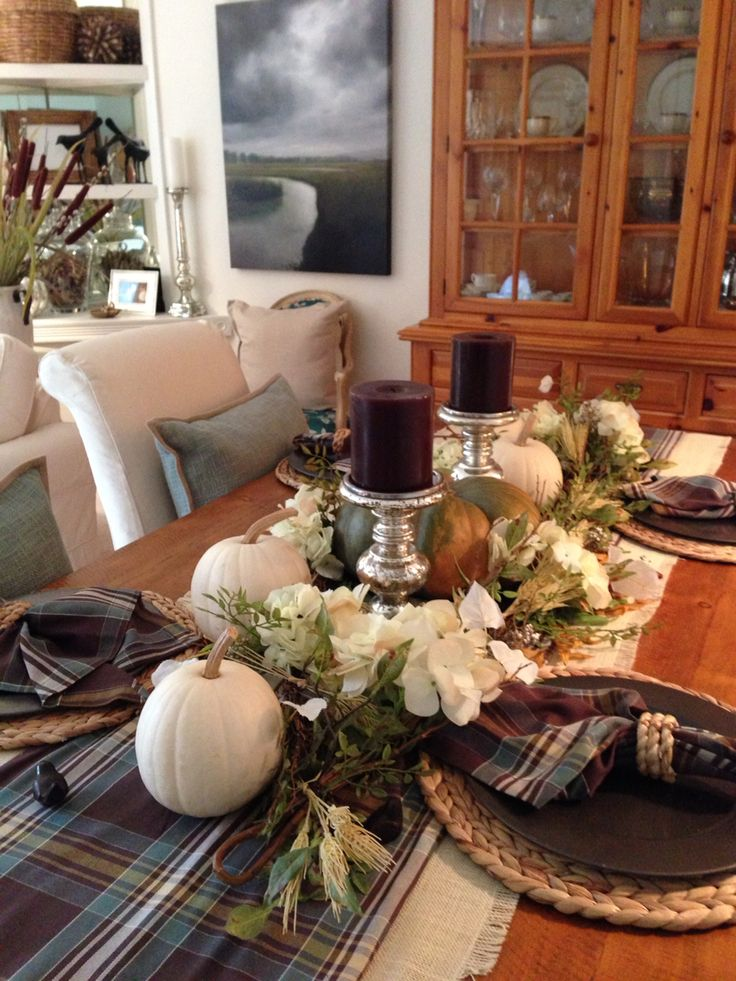 Fall Dining Table Love Pottery Barn Hunter Plaid Table