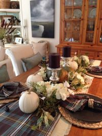Fall dining table - Love Pottery Barn - Hunter Plaid Table ...