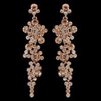 Rose Gold Peach Rhinestone Drop Wedding and Prom Earrings ...