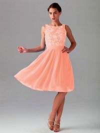 17 Best images about Peach Short Bridesmaid Dresses on ...