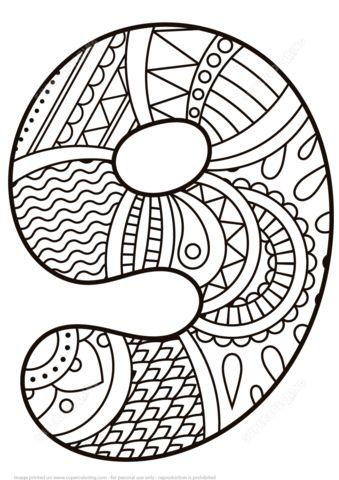 Number 9 Zentangle coloring page from Zentangle Numbers