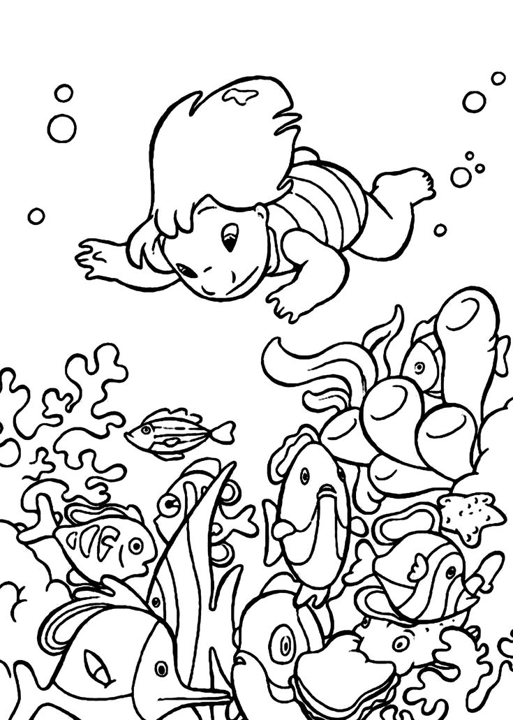 Lilo underwater coloring pages for kids, printable free