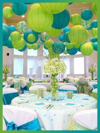 limes and lanterns Turquoise and Lime Green Decor  Party