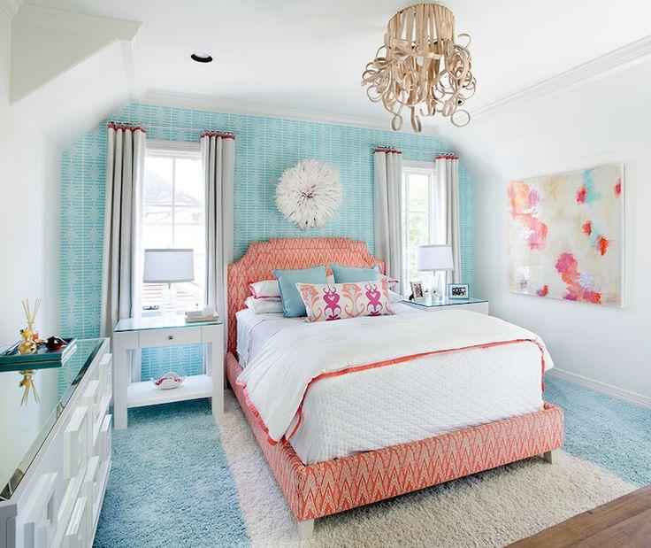 Tracy Hardenburg Designs  girls rooms  Worlds Away Werstler Dresser wallpapered headboard