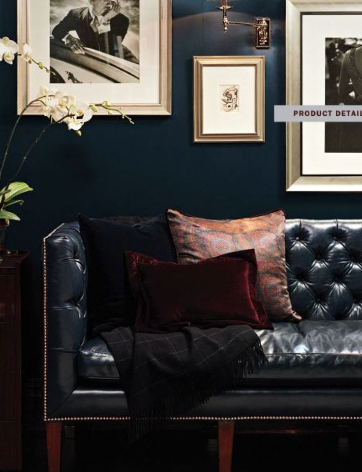 navy leather chesterfield sofa diy daybed sofas inspired by menswear walls + ...