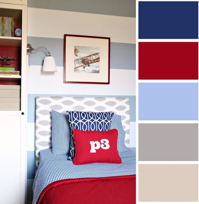 Choosing Fabrics And Colours For Older Boys Navy Red Dusty Blue Greige