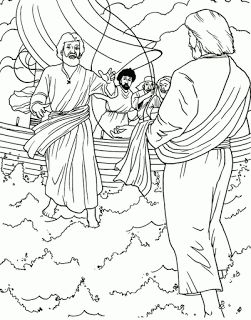 Miracle coloring page of Jesus walking on water in the sea