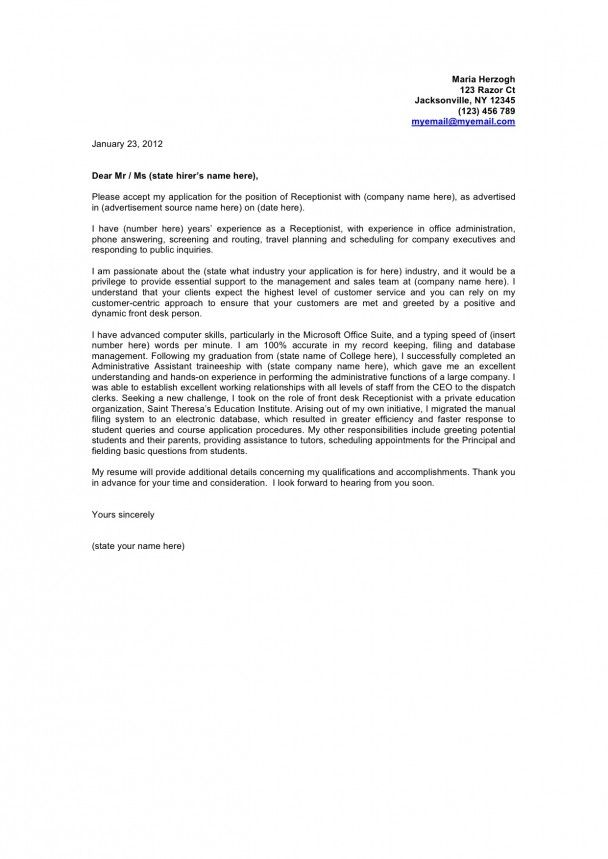 cover letter examples   Cover Letter Example  Cover