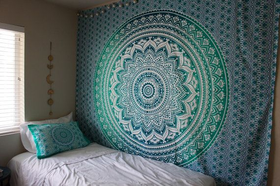 Hippie Trippy Turquoise Amp Teal Ombre Mandala Tapestry