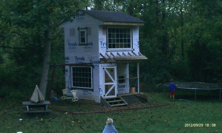 Two Story Playhouse With Swingset Attached Play House