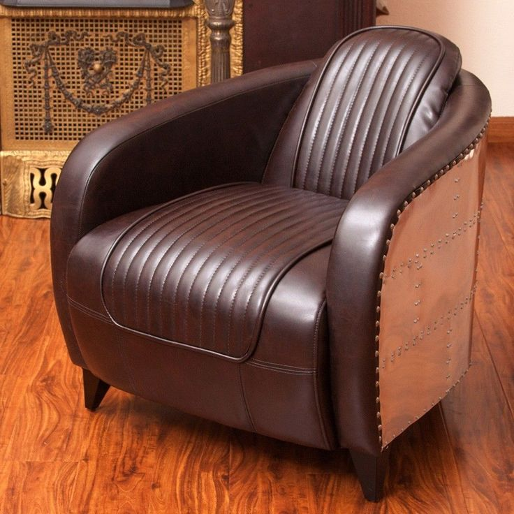 modern wing chair toddler chairs ikea avion wwii jet fighter design brown leather accent club in aluminum sheath | chairs, jets ...