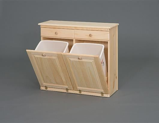 commercial kitchen trash can soap amish handcrafted pine wood double bin cabinet 35 ...