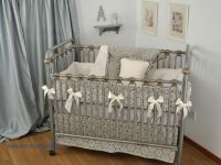 Charcoal Stencil grey crib bedding | Grey Crib Bedding ...