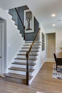 Gehan Homes Stairway - Light Rustic Hardwood Tread, White ...