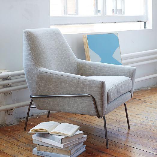 Lucas Wire Base Chair, Linen Weave, Platinum