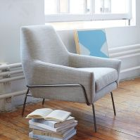 Lucas Wire Base Chair, Linen Weave, Platinum