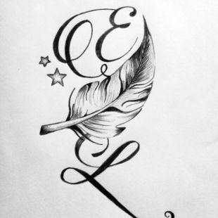Tatouages301 tatouages lettres entrelac es - Modele tatouage lettres entrelacees ...