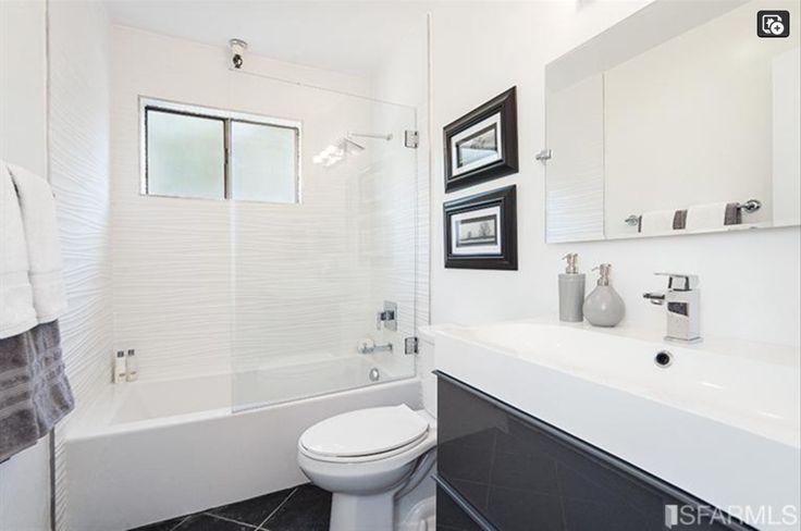 Bathroom Modern Wide Sink Wavy Shower Tile With Tub