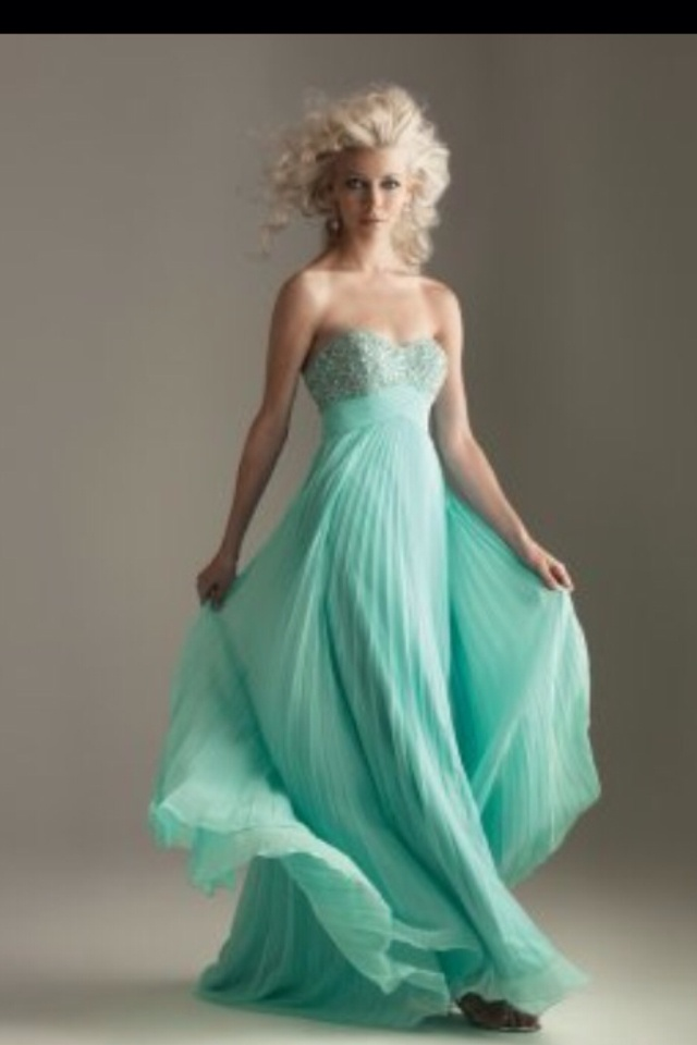 Strapless mint long flowy prom dress  Prom  Pinterest  Beautiful Awesome and Prom