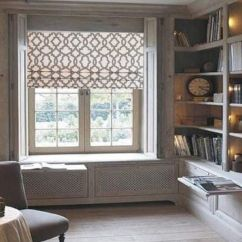 Patterned Curtains For Living Room Decorative Mirrors Philippines Lined Faux Roman Shade Grey/ Natural Geometric Trellis ...