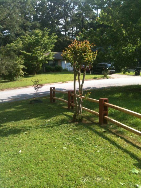 fence with cinder blocks