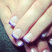 french tips with purple glitter