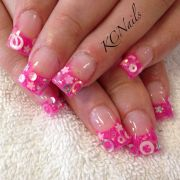 hot pink acrylic nails french