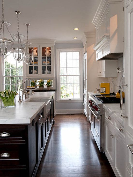 Kitchens by Deane  two tone cabinets Dark island with