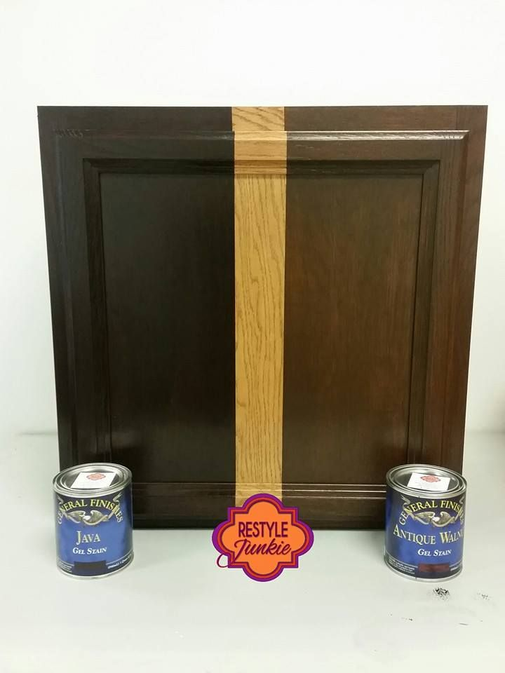 how to refinish stained wood kitchen cabinets lowes sink cabinet java gel stain vs antique walnut stain. choosing ...