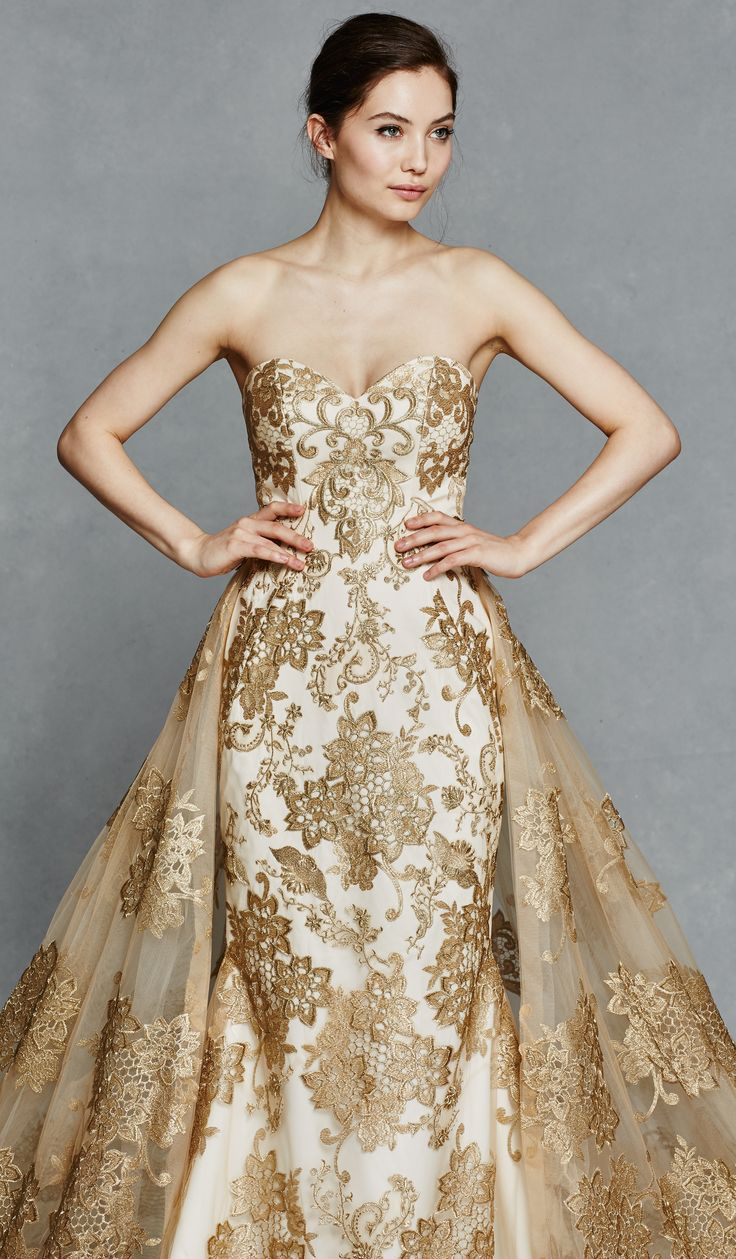 1000 ideas about Gold Wedding Gowns on Pinterest  Gold Wedding Dresses Gold Weddings and