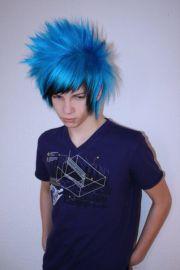 emo boy blue hair hairstyle