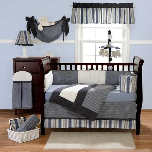 3pc Striped Grey White Black Blue Navy Solid Color Crib