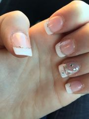 white french manicure with glitter