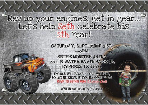 Birthday Invitations Trucks And Monster Trucks On Pinterest