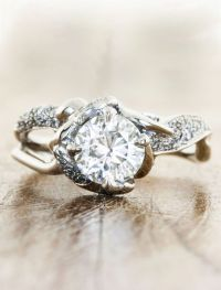Nature-inspired split band diamond engagement ring ...