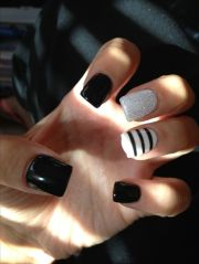 black and white nails with glitter