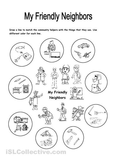This Worksheet Focuses On The Community Helpers And Things