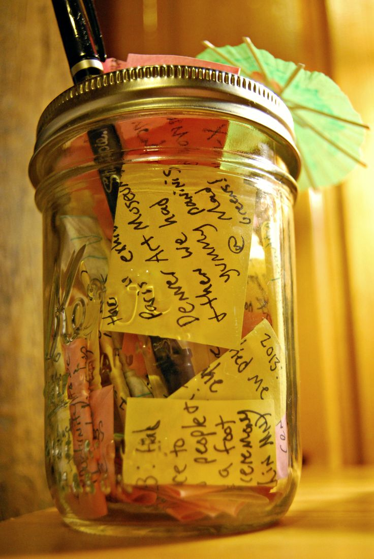 Mason jar full of little sticky notes every one of them