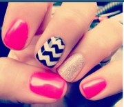 pink black white and gold nail