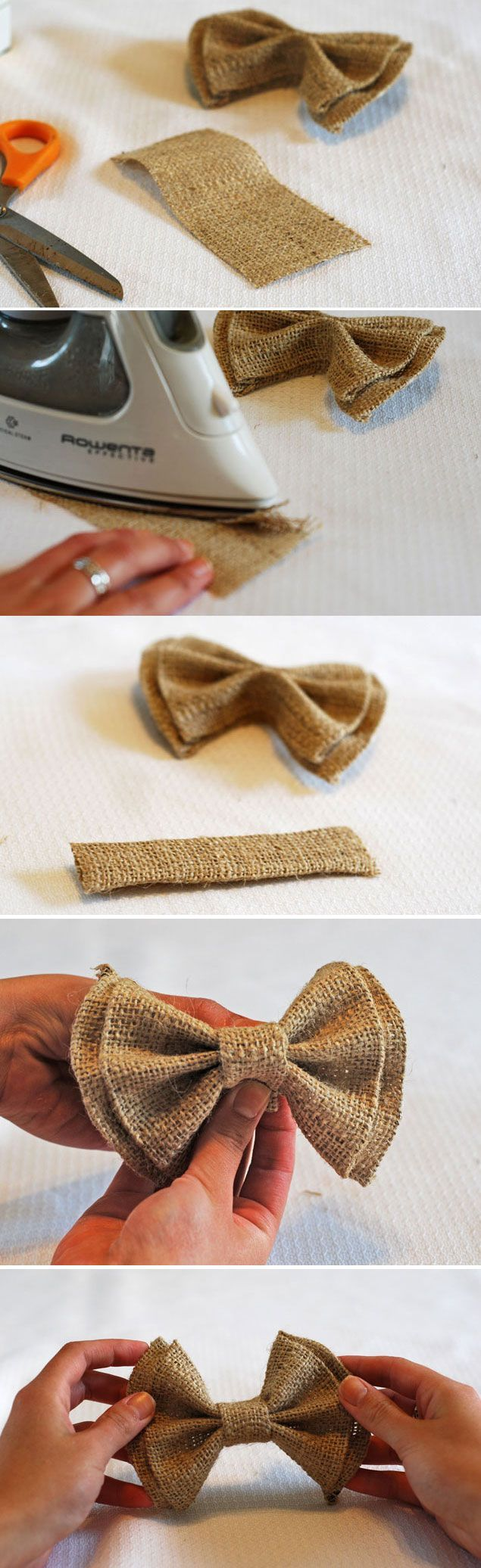 No Sew DIY Clip on Bow Ties – could make regular ties out of burlap as well. There is also colored burlap. What a neat idea for a
